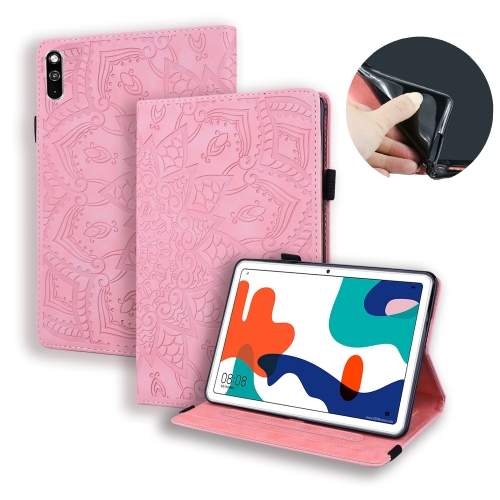 For Huawei MatePad 10.4 Calf Pattern Double Folding Design Embossed Leather Case with Holder & Card Slots & Pen Slot & Elastic Band(Pink) фото