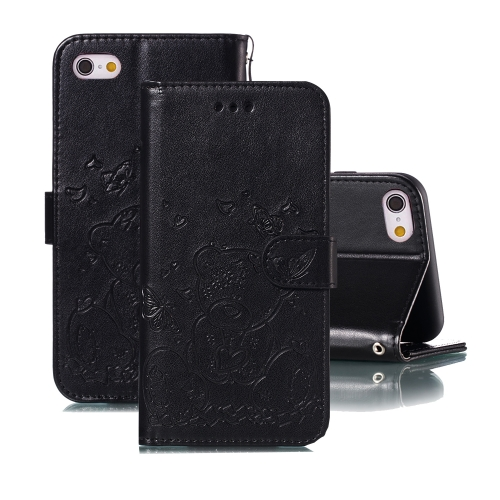 For iPhone 6 Plus / 6s Plus Embossed Butterfly Love Bear Pattern PU + TPU Horizontal Flip Leather Case with Holder & Card Slots & Wallet & Photo Frame(Black)