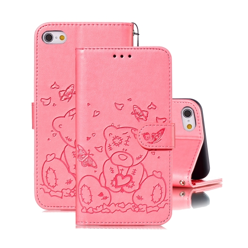 For iPhone 6 Plus / 6s Plus Embossed Butterfly Love Bear Pattern PU + TPU Horizontal Flip Leather Case with Holder & Card Slots & Wallet & Photo Frame(Pink)