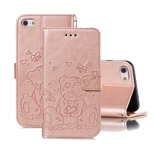 For iPhone 6 Plus / 6s Plus Embossed Butterfly Love Bear Pattern PU + TPU Horizontal Flip Leather Case with Holder & Card Slots & Wallet & Photo Frame(Rose Gold)