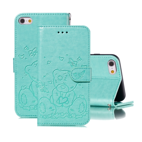 For iPhone 6 Plus / 6s Plus Embossed Butterfly Love Bear Pattern PU + TPU Horizontal Flip Leather Case with Holder & Card Slots & Wallet & Photo Frame(Green)