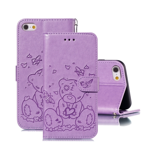For iPhone 6 Plus / 6s Plus Embossed Butterfly Love Bear Pattern PU + TPU Horizontal Flip Leather Case with Holder & Card Slots & Wallet & Photo Frame(Purple)