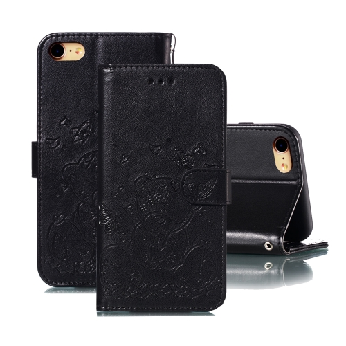 For iPhone SE 2020 / 8 / 7 Embossed Butterfly Love Bear Pattern PU + TPU Horizontal Flip Leather Case with Holder & Card Slots & Wallet & Photo Frame(Black)
