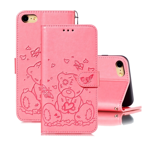 For iPhone SE 2020 / 8 / 7 Embossed Butterfly Love Bear Pattern PU + TPU Horizontal Flip Leather Case with Holder & Card Slots & Wallet & Photo Frame(Pink)