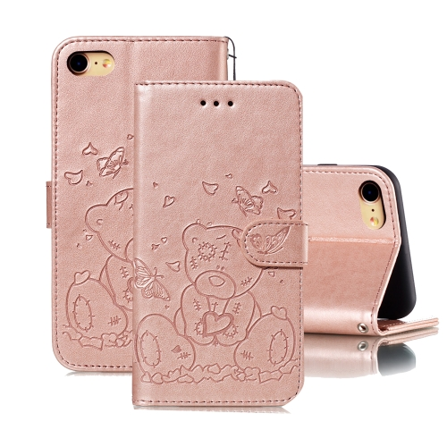 For iPhone SE 2020 / 8 / 7 Embossed Butterfly Love Bear Pattern PU + TPU Horizontal Flip Leather Case with Holder & Card Slots & Wallet & Photo Frame(Rose Gold)