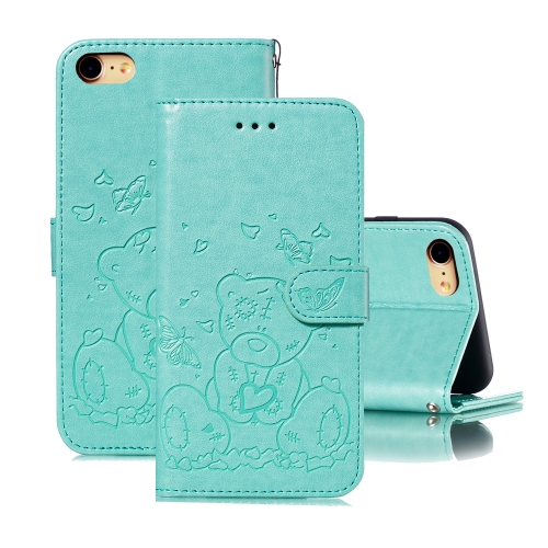 For iPhone SE 2020 / 8 / 7 Embossed Butterfly Love Bear Pattern PU + TPU Horizontal Flip Leather Case with Holder & Card Slots & Wallet & Photo Frame(Green)