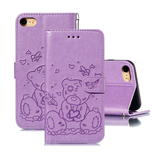 For iPhone SE 2020 / 8 / 7 Embossed Butterfly Love Bear Pattern PU + TPU Horizontal Flip Leather Case with Holder & Card Slots & Wallet & Photo Frame(Purple)