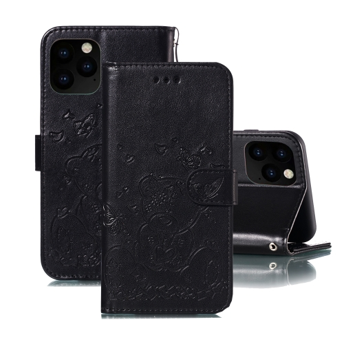 For iPhone 11 Pro Max Embossed Butterfly Love Bear Pattern PU + TPU Horizontal Flip Leather Case with Holder & Card Slots & Wallet & Photo Frame(Black)