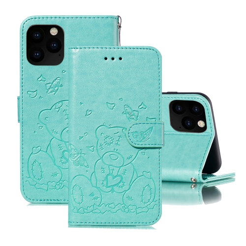 For iPhone 11 Pro Max Embossed Butterfly Love Bear Pattern PU + TPU Horizontal Flip Leather Case with Holder & Card Slots & Wallet & Photo Frame(Green)