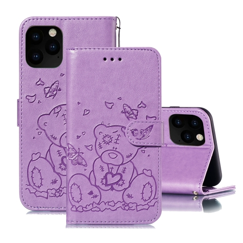 For iPhone 11 Pro Max Embossed Butterfly Love Bear Pattern PU + TPU Horizontal Flip Leather Case with Holder & Card Slots & Wallet & Photo Frame(Purple)