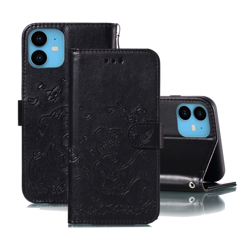 For iPhone 11 Embossed Butterfly Love Bear Pattern PU + TPU Horizontal Flip Leather Case with Holder & Card Slots & Wallet & Photo Frame(Black)