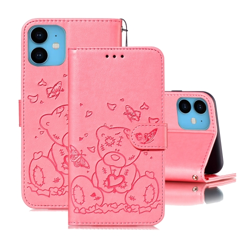 For iPhone 11 Embossed Butterfly Love Bear Pattern PU + TPU Horizontal Flip Leather Case with Holder & Card Slots & Wallet & Photo Frame(Pink)