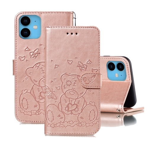 For iPhone 11 Embossed Butterfly Love Bear Pattern PU + TPU Horizontal Flip Leather Case with Holder & Card Slots & Wallet & Photo Frame(Rose Gold)