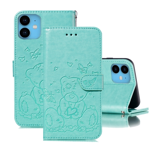 For iPhone 11 Embossed Butterfly Love Bear Pattern PU + TPU Horizontal Flip Leather Case with Holder & Card Slots & Wallet & Photo Frame(Green)