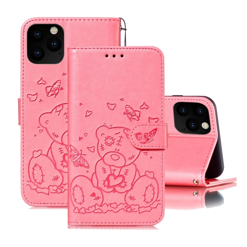 For iPhone 11 Pro Embossed Butterfly Love Bear Pattern PU + TPU Horizontal Flip Leather Case with Holder & Card Slots & Wallet & Photo Frame(Pink)