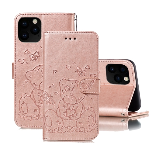 For iPhone 11 Pro Embossed Butterfly Love Bear Pattern PU + TPU Horizontal Flip Leather Case with Holder & Card Slots & Wallet & Photo Frame(Rose Gold)