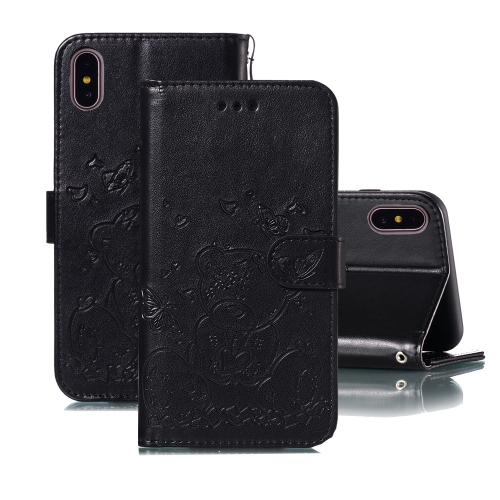 For iPhone X / XS Embossed Butterfly Love Bear Pattern PU + TPU Horizontal Flip Leather Case with Holder & Card Slots & Wallet & Photo Frame(Black)