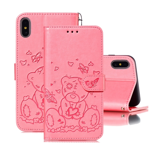 For iPhone X / XS Embossed Butterfly Love Bear Pattern PU + TPU Horizontal Flip Leather Case with Holder & Card Slots & Wallet & Photo Frame(Pink)