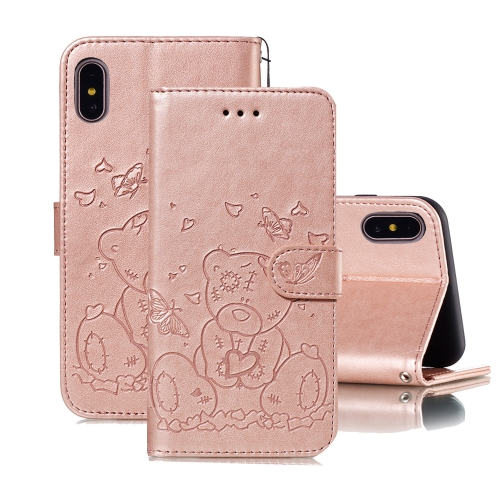 For iPhone X / XS Embossed Butterfly Love Bear Pattern PU + TPU Horizontal Flip Leather Case with Holder & Card Slots & Wallet & Photo Frame(Rose Gold)