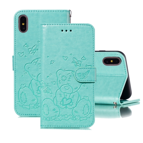 For iPhone X / XS Embossed Butterfly Love Bear Pattern PU + TPU Horizontal Flip Leather Case with Holder & Card Slots & Wallet & Photo Frame(Green)