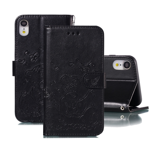 For iPhone XR Embossed Butterfly Love Bear Pattern PU + TPU Horizontal Flip Leather Case with Holder & Card Slots & Wallet & Photo Frame(Black)