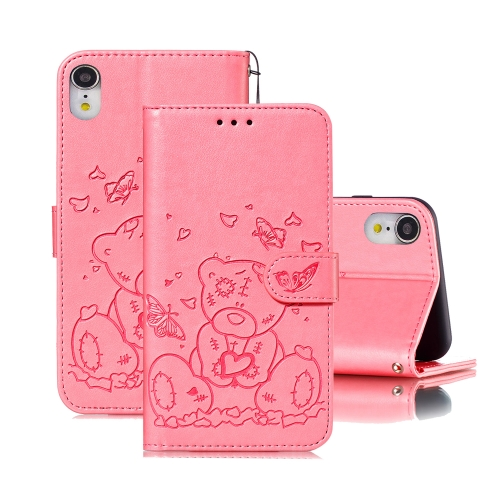 For iPhone XR Embossed Butterfly Love Bear Pattern PU + TPU Horizontal Flip Leather Case with Holder & Card Slots & Wallet & Photo Frame(Pink)