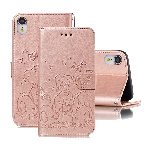 For iPhone XR Embossed Butterfly Love Bear Pattern PU + TPU Horizontal Flip Leather Case with Holder & Card Slots & Wallet & Photo Frame(Rose Gold)