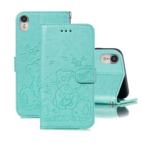 For iPhone XR Embossed Butterfly Love Bear Pattern PU + TPU Horizontal Flip Leather Case with Holder & Card Slots & Wallet & Photo Frame(Green)