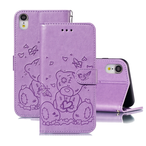 For iPhone XR Embossed Butterfly Love Bear Pattern PU + TPU Horizontal Flip Leather Case with Holder & Card Slots & Wallet & Photo Frame(Purple)