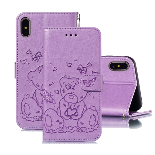 For iPhone XS Max Embossed Butterfly Love Bear Pattern PU + TPU Horizontal Flip Leather Case with Holder & Card Slots & Wallet & Photo Frame(Purple)