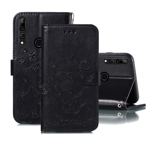 For Huawei P Smart Z / Y9 Prime (2019) Embossed Butterfly Love Bear Pattern PU + TPU Horizontal Flip Leather Case with Holder & Card Slots & Wallet & Photo Frame(Black)