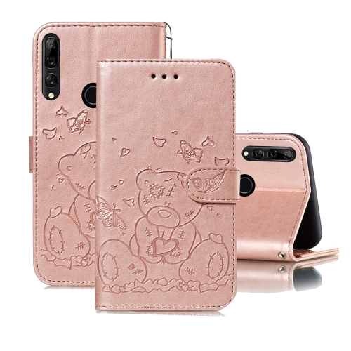 For Huawei P Smart Z / Y9 Prime (2019) Embossed Butterfly Love Bear Pattern PU + TPU Horizontal Flip Leather Case with Holder & Card Slots & Wallet & Photo Frame(Rose Gold)