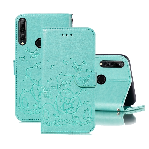 For Huawei P Smart Z / Y9 Prime (2019) Embossed Butterfly Love Bear Pattern PU + TPU Horizontal Flip Leather Case with Holder & Card Slots & Wallet & Photo Frame(Green)