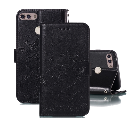 For Huawei P Smart / Enjoy 7s Embossed Butterfly Love Bear Pattern PU + TPU Horizontal Flip Leather Case with Holder & Card Slots & Wallet & Photo Frame(Black)