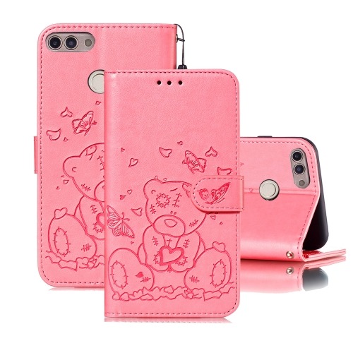 For Huawei P Smart / Enjoy 7s Embossed Butterfly Love Bear Pattern PU + TPU Horizontal Flip Leather Case with Holder & Card Slots & Wallet & Photo Frame(Pink)