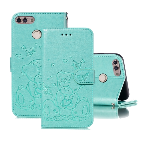 For Huawei P Smart / Enjoy 7s Embossed Butterfly Love Bear Pattern PU + TPU Horizontal Flip Leather Case with Holder & Card Slots & Wallet & Photo Frame(Green)