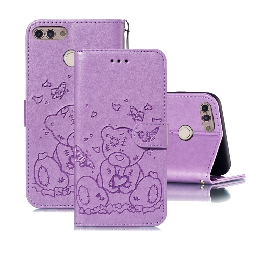 For Huawei P Smart / Enjoy 7s Embossed Butterfly Love Bear Pattern PU + TPU Horizontal Flip Leather Case with Holder & Card Slots & Wallet & Photo Frame(Purple)