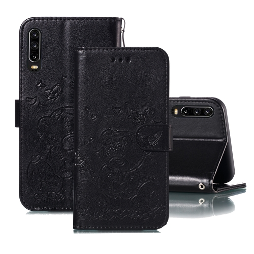 For Huawei P30 Embossed Butterfly Love Bear Pattern PU + TPU Horizontal Flip Leather Case with Holder & Card Slots & Wallet & Photo Frame(Black)