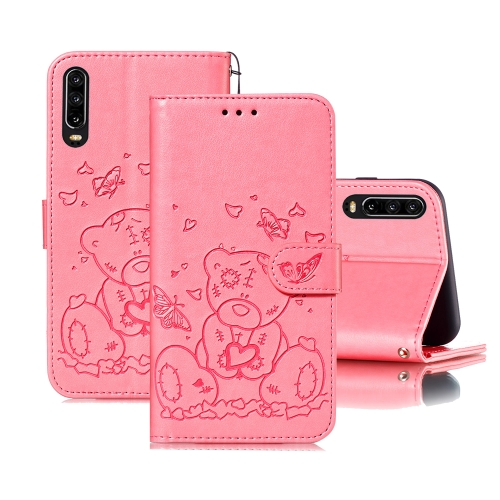 For Huawei P30 Embossed Butterfly Love Bear Pattern PU + TPU Horizontal Flip Leather Case with Holder & Card Slots & Wallet & Photo Frame(Pink)