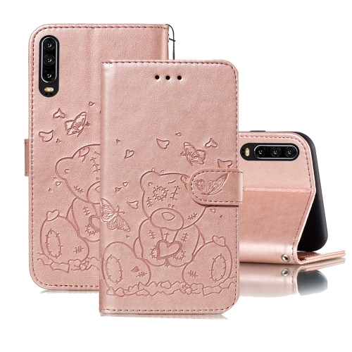 For Huawei P30 Embossed Butterfly Love Bear Pattern PU + TPU Horizontal Flip Leather Case with Holder & Card Slots & Wallet & Photo Frame(Rose Gold)