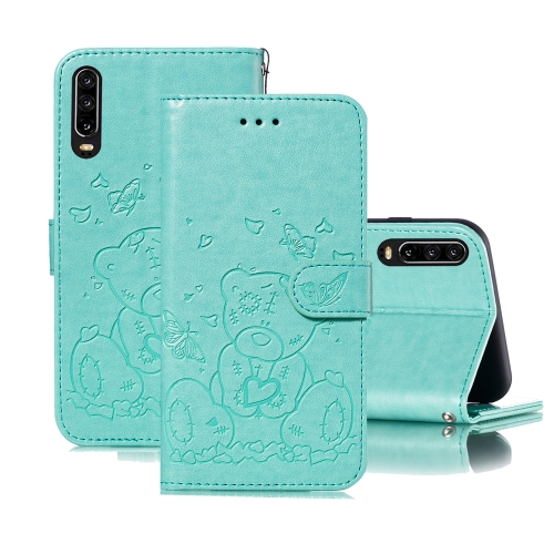 For Huawei P30 Embossed Butterfly Love Bear Pattern PU + TPU Horizontal Flip Leather Case with Holder & Card Slots & Wallet & Photo Frame(Green)