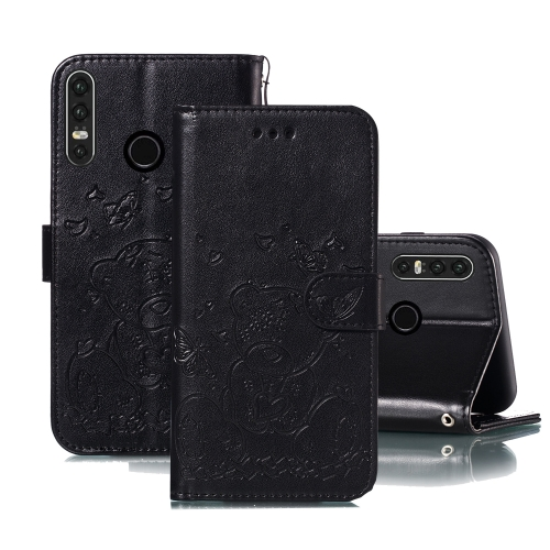 For Huawei P30 Lite Embossed Butterfly Love Bear Pattern PU + TPU Horizontal Flip Leather Case with Holder & Card Slots & Wallet & Photo Frame(Black)