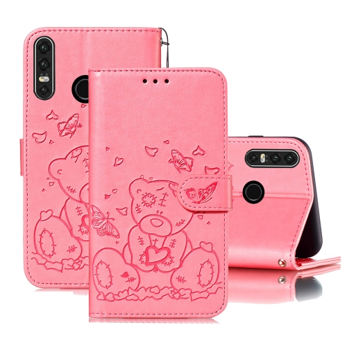 For Huawei P30 Lite Embossed Butterfly Love Bear Pattern PU + TPU Horizontal Flip Leather Case with Holder & Card Slots & Wallet & Photo Frame(Pink)