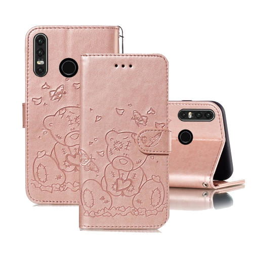 For Huawei P30 Lite Embossed Butterfly Love Bear Pattern PU + TPU Horizontal Flip Leather Case with Holder & Card Slots & Wallet & Photo Frame(Rose Gold)