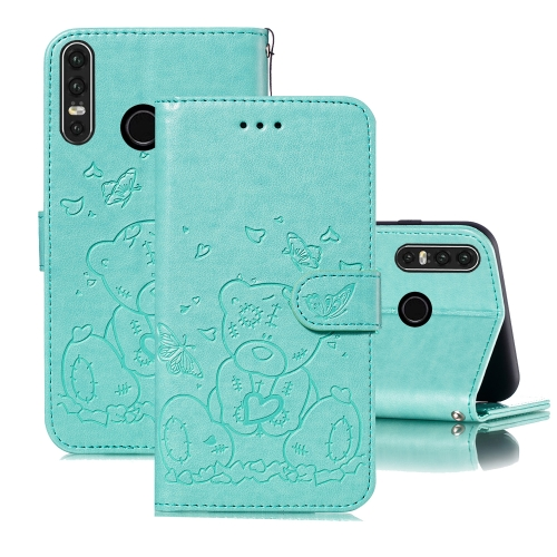 For Huawei P30 Lite Embossed Butterfly Love Bear Pattern PU + TPU Horizontal Flip Leather Case with Holder & Card Slots & Wallet & Photo Frame(Green)