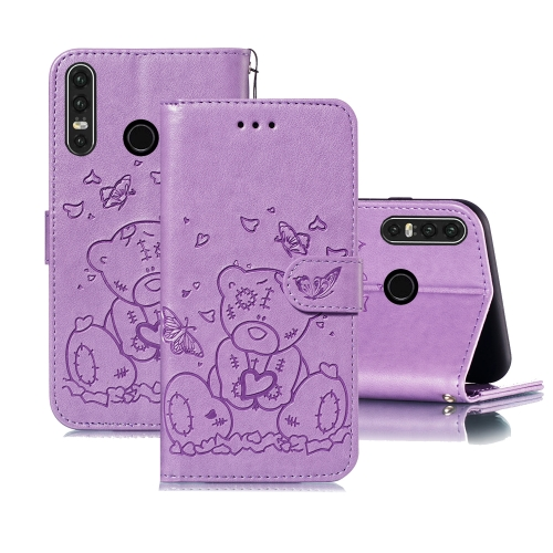 For Huawei P30 Lite Embossed Butterfly Love Bear Pattern PU + TPU Horizontal Flip Leather Case with Holder & Card Slots & Wallet & Photo Frame(Purple)
