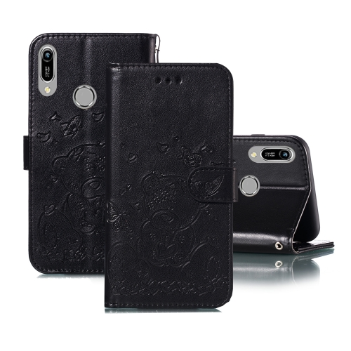 For Huawei Y6 (2019) / Honor 8A Embossed Butterfly Love Bear Pattern PU + TPU Horizontal Flip Leather Case with Holder & Card Slots & Wallet & Photo Frame(Black)