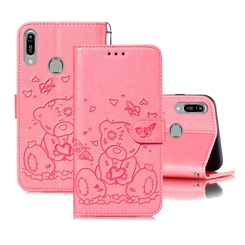 For Huawei Y6 (2019) / Honor 8A Embossed Butterfly Love Bear Pattern PU + TPU Horizontal Flip Leather Case with Holder & Card Slots & Wallet & Photo Frame(Pink)
