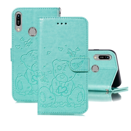 For Huawei Y6 (2019) / Honor 8A Embossed Butterfly Love Bear Pattern PU + TPU Horizontal Flip Leather Case with Holder & Card Slots & Wallet & Photo Frame(Green)