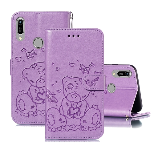 For Huawei Y6 (2019) / Honor 8A Embossed Butterfly Love Bear Pattern PU + TPU Horizontal Flip Leather Case with Holder & Card Slots & Wallet & Photo Frame(Purple)